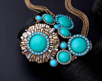 Statement necklace, gemstone necklace, turquoise necklace - Aria