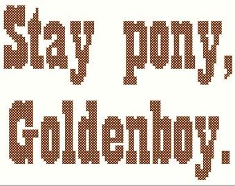 """PDF PATTERN """"Stay pony, Goldenboy"""" cross stitch"""