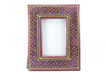 Photo Frame,Picture frame, Hand painted embossed,4 x 6 inches,Ethnic,distressed finish. Multi color,India home decor,Mother's day gift