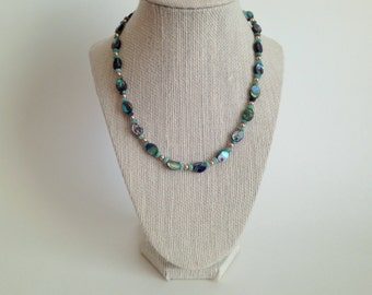 Abalone shell, Peruvian opal necklace, sterling silver lobster clasp