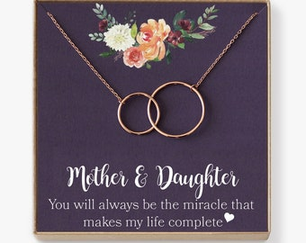 Mother Daughter Necklace, Mother's Day Gift, Gifts for Mom, Mom Necklace, Mother Necklace, Mother's Day Jewelry, 2 Interlocking Circles