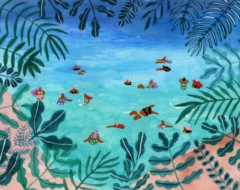 "Art Print of original watercolor painting ""Meeting me somewhere in the middle"" by Helo Birdie - swimming - jungle - tropical - whimsical art"