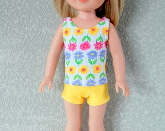 Flower Tank Top and shorts set handmade for 14.5 inch Wellie Wishers tkct1220 READY TO SHIP