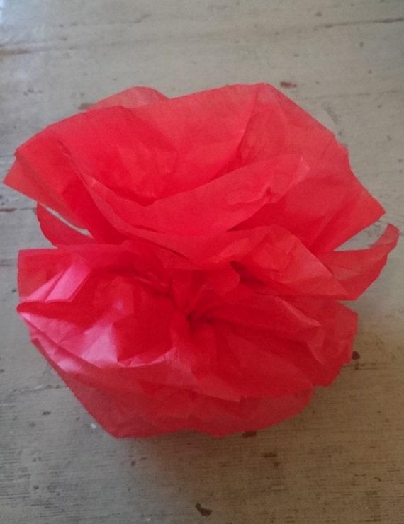 12 red tissue paper pom poms tissue flowers paper flowers like this item mightylinksfo