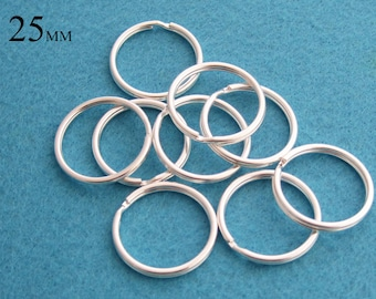 50 Pieces of Split Rings 25 mm, Steel Key Rings Great to Make Key Chains