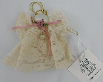 Handmade Vintage Lace Guardian Angel Ornament Mauve Ribbon Mauve Rose    (I)