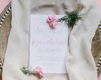 Simple Brush Lettering Wedding Invites / Pale Lilac Pink Watercolor / Semi-Custom Wedding Invitation Suite / Print-at-Home Invitations