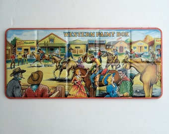 Mid Century Western Paint Box Watercolor Page London Made in England Collectible Tin