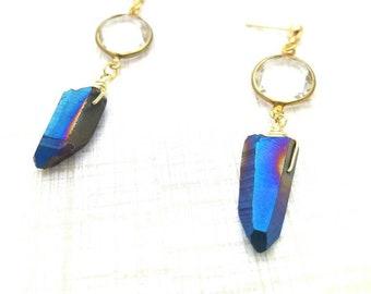 Quartz Point Earrings, Gemstone Dangle Earrings, Edgy Gemstone Drop Earrings, Mystic Quartz Earrings, Blue Earrings, Gold Gem Earrings