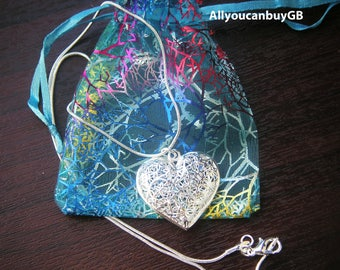 925 Sterling Silver Heart Necklace,. 925 Sterling Silver Heart Pendant. Women silver necklace.