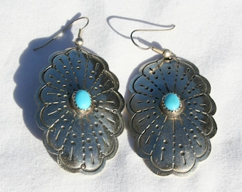 Vintage Pair of Navajo Silver and Turquoise Concho Earrings