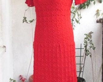 Crochet Dress  Red dress  Elegant dress Crochet Lace Dress