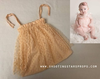 Little Sweetheart - Peach - Sitter Dress - Hearts - Toddler Top - Adjustable Tie Straps - Mesh Fabric - Tutu - Photography Prop