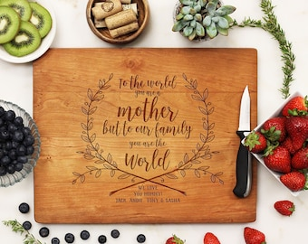 Mother's Day Gift, Custom Cutting Board, Mother's Day, Gift for Mom, Best Mom, Thank You Mom, Personalized Gift, Grandma --21222-CUTB-003