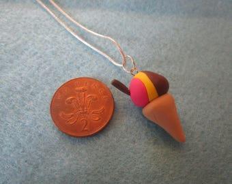 Fimo polymer clay neapolitan icecream cone sweet necklace handmade christmas