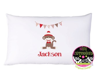 Sock Monkey Inspired Personalized PillowCase
