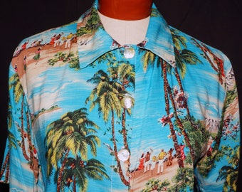 1980s Hawaiian Crop Shirt Sz 12-14  Vintage Retro