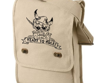 Ready to Role Canvas Field Bag, The Gaming Geeks Limited Edition Cotton Canvas Bag, Dungeons & Dragons Bag, Goblin Ready to Roll Bag