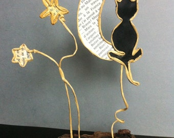 paper, wire reinforced kraft and Driftwood - thoughtful cat sculptures