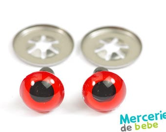 Set of 2 eyes for plush - 10 mm - Red