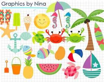 INSTANT DOWLOAD    Summer clipart  Scrapbook for Personal and Commercial Use