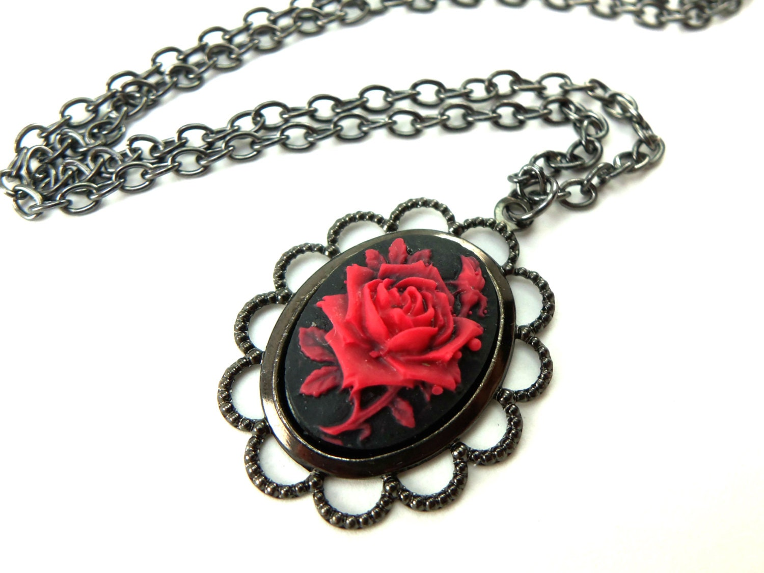 Gothic rose necklace black red rose cameo pendant dark zoom mozeypictures Choice Image