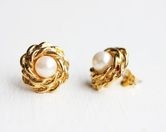 Large Rope Pearl Studs