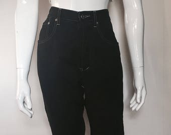 Size 10 90's French Star High Waisted Black Tencil Jeans