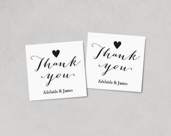 Thank You Favor Tags, Printable Wedding Favor Tag Template, Thank You Tag, Kraft Favor Tags, Instant DOWNLOAD, EDITABLE Text, 2x2, FT05