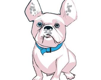 Sitting French Bulldog Illustration - Pink
