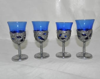Cobalt Blue & Silver Metal Overlay With Lizard Design Cordial Glasses - Japan - Set of 4