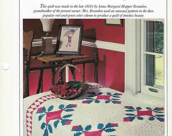 Nancy's Tulips Quilt Pattern - Best Loved Quilts - Vintage Quilt Block Sewing Pattern, Bedspread, Bedding, Home Decor