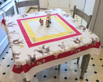 Vintage Mid Century Tablecloth Chickens & Roosters Out in the Farm Yard