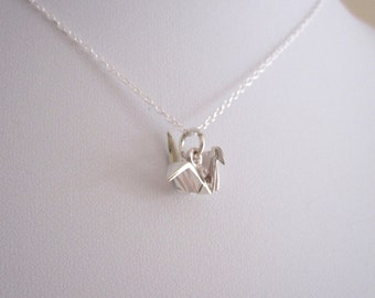 ORIGAMI CRANE BIRD sterling silver charm with chain necklace, Japanese origami jewelry