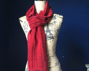Handwoven Rayon Chenille Red and Black Scarf