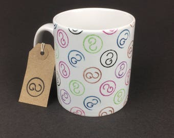 Beautiful, stylish and utterly unique 'GEECEEDEECEES' ceramic coffee mug. By The Good Continuation Design Company.