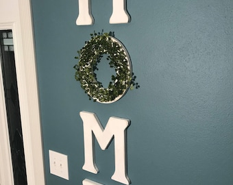 Home Letters With Wreath As O, Home Letter Sign, Farmhouse Home Sign, Home