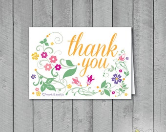 Set of 10 Personalized Floral Thank you Cards + Envelopes