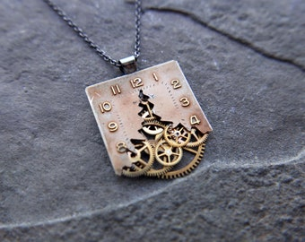 "Cut Watch Dial Necklace ""Jacobi"" Deconstructed Face Pendant Recycled Upcycled Gear Art Steampunk A Mechanical Mind Gift Idea"