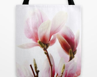 Magnolia Market Tote Bag, Large 18x18 Floral Tote, Floral Market Bag, Book Bags for Women, Gifts for Her, Gardener Gifts,
