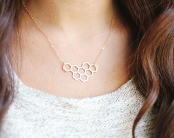 Honeycomb Necklace   Brass   14k Gold Filled   Sterling Silver   Honey Comb Necklace