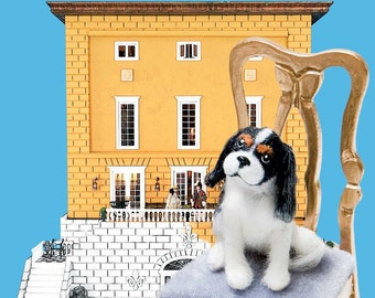 "Coloring Book - ""Follymops and the French Chateau"" - Cavalier King Charles spaniel - ""Dollhouse Dogs"" architectural dollhouse minatures"