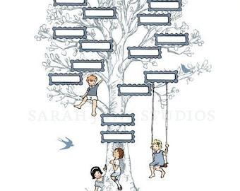Children's Wall Art Print - Family Tree (Blue) - 11x14 - Kids Nursery Room Decor