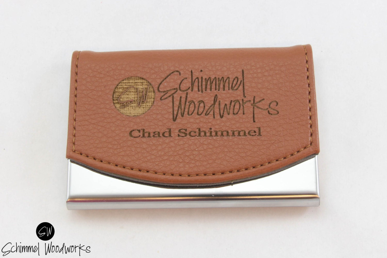 Custom Engraved Leather Business Card Holder, Groomsmen Card