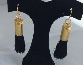 Black Tassel Bullet Shell Earrings