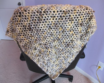 Triangle style wrap shawl in gold and tan