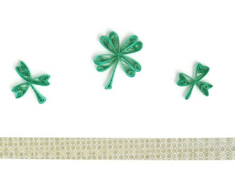 Quilling St. Patrick's Card, St. Patrick's Day, Four Leaf Clover Card, Paper Quilled Four Leaf Clover, St. Patrick Card, Good Luck Card