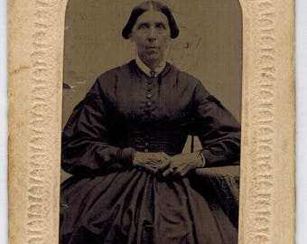 Antique Tintype Older Lady Portrait Unidentified 2 X 3