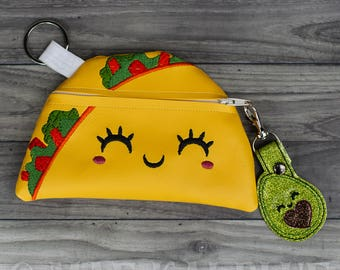 Taco Purse | Zipper Bag | makeup | coin | pencil | notions