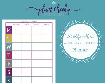 Printable Weekly Meal Planner-Instant Download Printable Planner Page